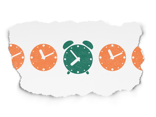 Timeline concept: alarm clock icon on Torn Paper background