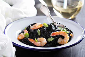 Squid ink homemade pasta with shrimp