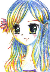 Colorful anime manga cartoon girl with flower in hair
