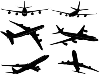 big commercial airplanes silhouettes - vector