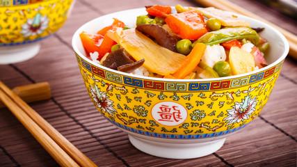 Rice with sweet and sour vegetables - Reis mit süß-sauren Gem