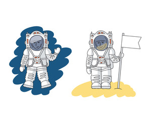 Astronaut in space and on the planet
