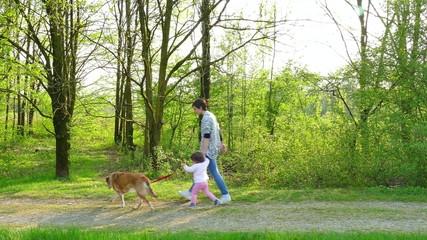Woman Mother Mom Baby Girl Child Walking Pet Dog