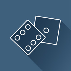 Vector  dice flat icon  isolated outline. Eps10