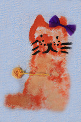 mustachioed Ginger cat with bow drawing