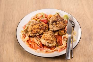 Fettuccine  And Chicken Tomato Dish