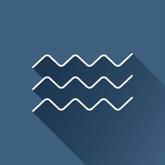 Vector flat  waves icon  isolated outline. Eps10