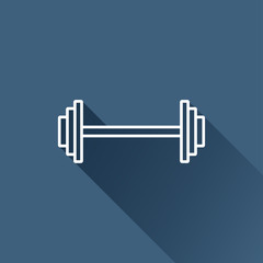 Vector white dumbbell flat icon outline. Eps10