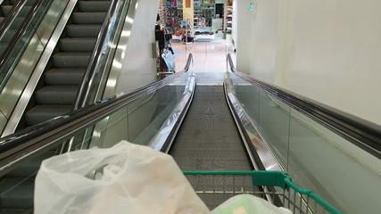 Riding down escalator in supermarket.60 fps.