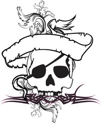 skull ribbon tattoo tshirt3