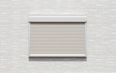 White metal roller door shutter background and texture .