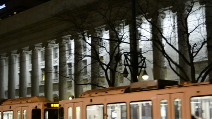 top of train with courthouse columns in background