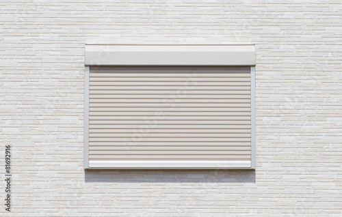 White metal roller door shutter background and texture . - 81692916