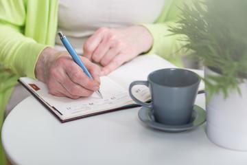 Writing in weekly organiser