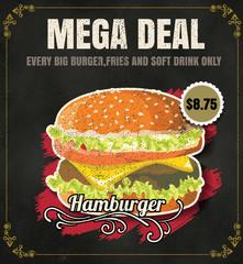 Restaurant Fast Foods menu burger on chalkboard vector format ep