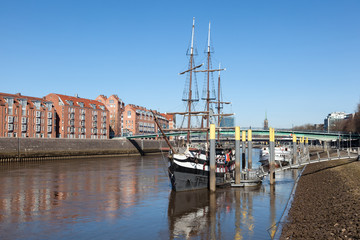 Old pirate ship at the Weser river in Bremen, Germany