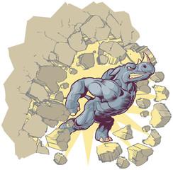 Vector Mascot Cartoon Rhino Crashing through a wall