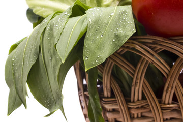 fresh green garlic in a basket with vegetables