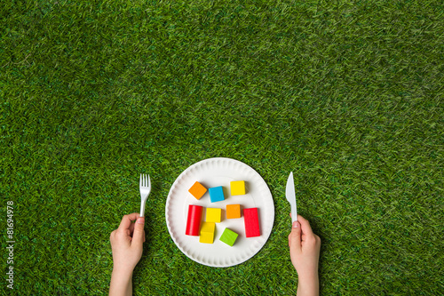 Foto op Aluminium Picknick Hungry for creativity with wooden blocks