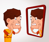 boy with an acne problem poster