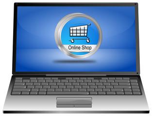 Laptop mit Online Shop Button