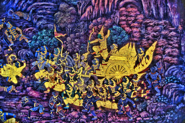 Masterpiece Ramayana painting in temple of emerald Buddha