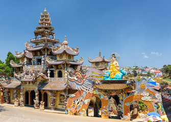 View of the Linh Phuoc Pagoda in the mosaic style from shards of