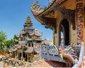 The beautiful Linh Phuoc Pagoda in mosaic style from shards of g