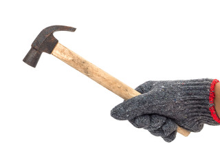 worker hand holding rustic hammer isolated