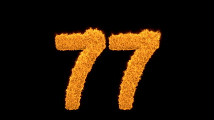 Decorative fiery number 77