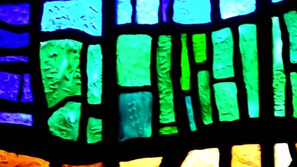 different stained glass close-up