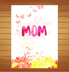 Mothers day card. Watercolor floral background