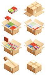 段ボール箱に本を入れる