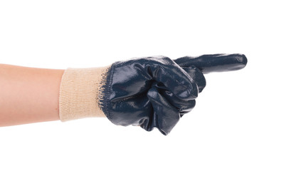 Hand in protective glove showing direction.