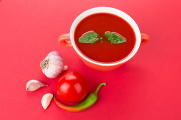 Bowl of tomato soup.