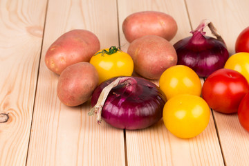 Close up of various ripe vegetables.