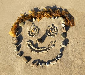 Funny, Happy, Smiley Face Drawn In The Sand