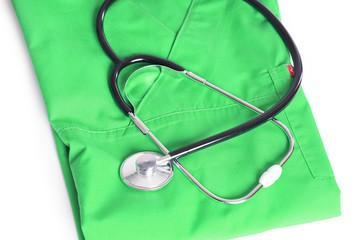 Stethoskop auf grünen Arztkittel
