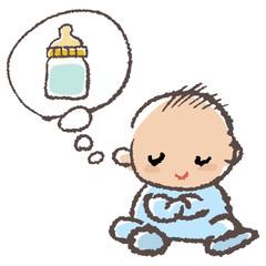 赤ちゃん ミルク Baby thinking milk