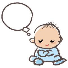 赤ちゃん ふきだし Baby boy crossing arm and thinking