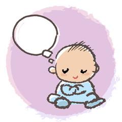 考える 赤ちゃん Baby crossing arm and thinking