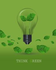 Ecology Think green bulb vector illustration.