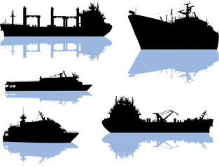 five large ship silhouettes isolated on white