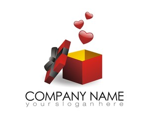 gift present heart love logo image vector