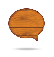 vector : speech bubble icon with wood texture