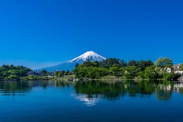 Mount Fuji from Kawaguchiko lakwith blue sky