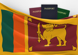 Travel and tourism in Sri Lanka, with assorted passports
