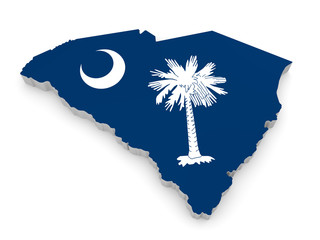 Geographic border map and flag of South Carolina, Palmetto State