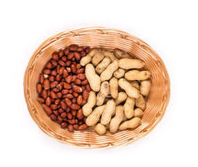 Basket full with peanuts