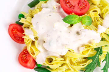 Tagliatelli pasta with tomatoes